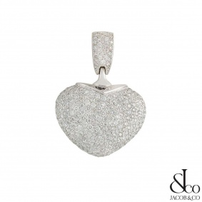 Jacob & Co White Gold Diamond Heart Pendant